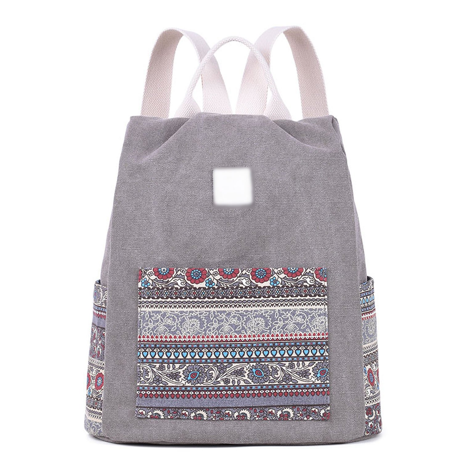 Perfues WomenS Canvas Backpack Floral School Bookbag Travel Small Backpacks Casual Daypack Bags,Light Gray,China