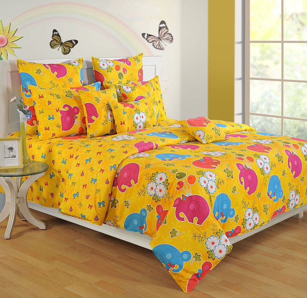 Yuga Décor Printed Yellow and Pink Little Angels Kids Cotton King Size Decorative Duvet Cover Bed Set 90 X 108 Inches
