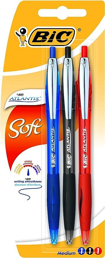 Oferta amazon: BIC Atlantis Soft bolígrafos Retráctiles punta media (1,0 mm) - colores Surtidos, Blíster de 3 unidades