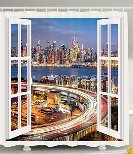 Ambesonne New York Skyline Shower Curtain NYC Decor Home Decorations Pictures With Art Prints In Panoramic