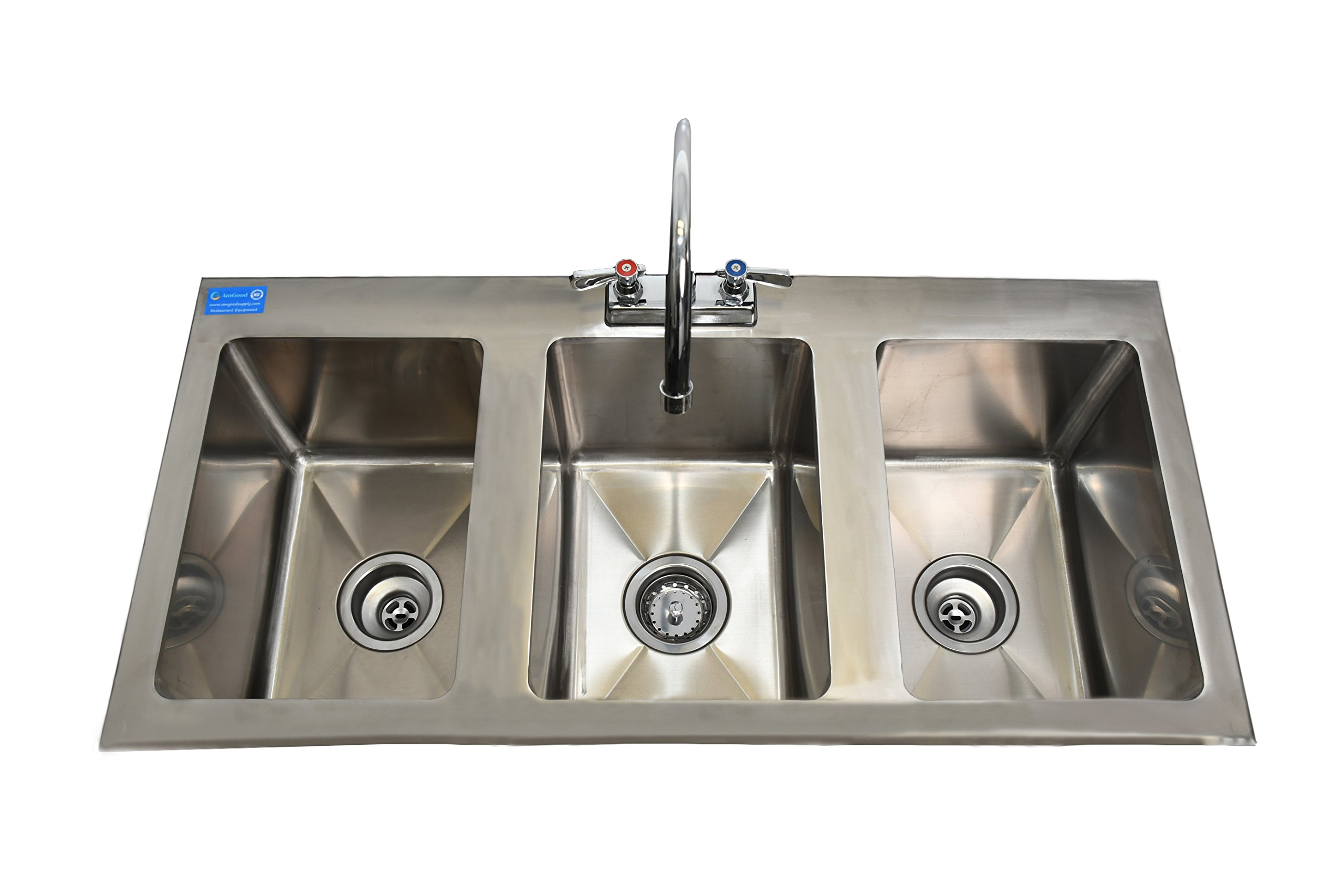 AmGood Stainless Steel Drop Sink - 3 Compartment Drop In Sink 10''x14''x10'' NSF Certified (10'' x 14'' x 10'' Sink with Faucet)