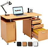 Large Computer and Writing Desk with A4 Filing, 2 Stationery Drawers and Cupboard for the Home Office in Beech - Piranha Furniture Emperor PC 2b