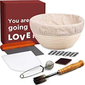 """Bread Proofing Baskets for Sourdough - 6pc Banneton Proofing Basket Set includes 4.35"""" tall Round Basket + Liner + Bread Lame + Dough Scraper + Bench Scraper + Flour Sifter. Perfect Gifts for Bakers."""