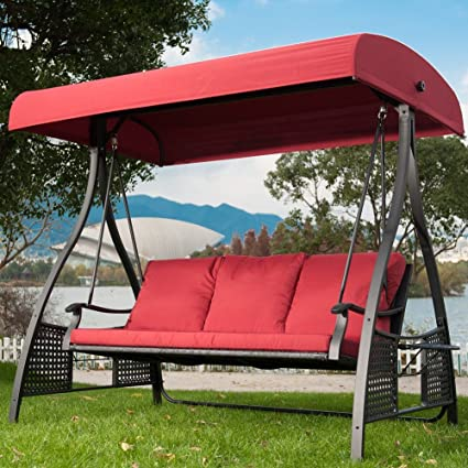 Outdoor Swing Chair, Seats 3 Porch Patio Swing Glider With Durable Stee  Frame And Padded