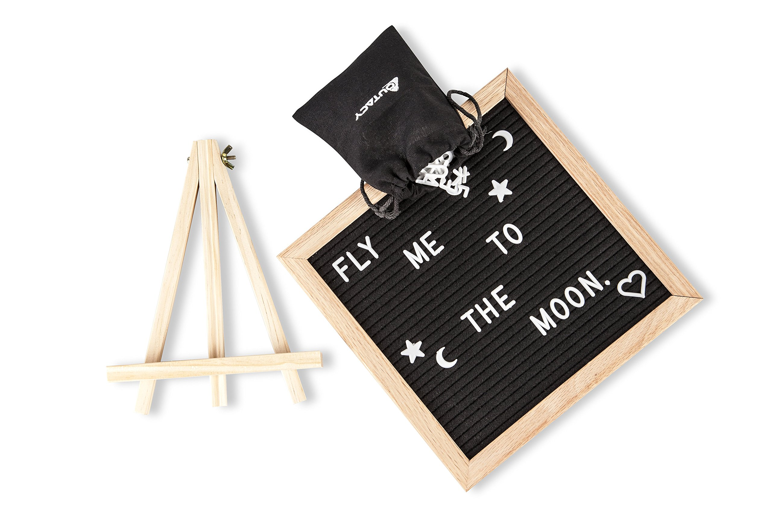 Felt Letter Board Sign: Decorative Wooden Changeable Marquee Message Board Set with 328 Letters, Numbers, Symbols and Emojis, Oak Wood Frame, Display Easel and Black Bag - 10x10 Inch Black Letterboard
