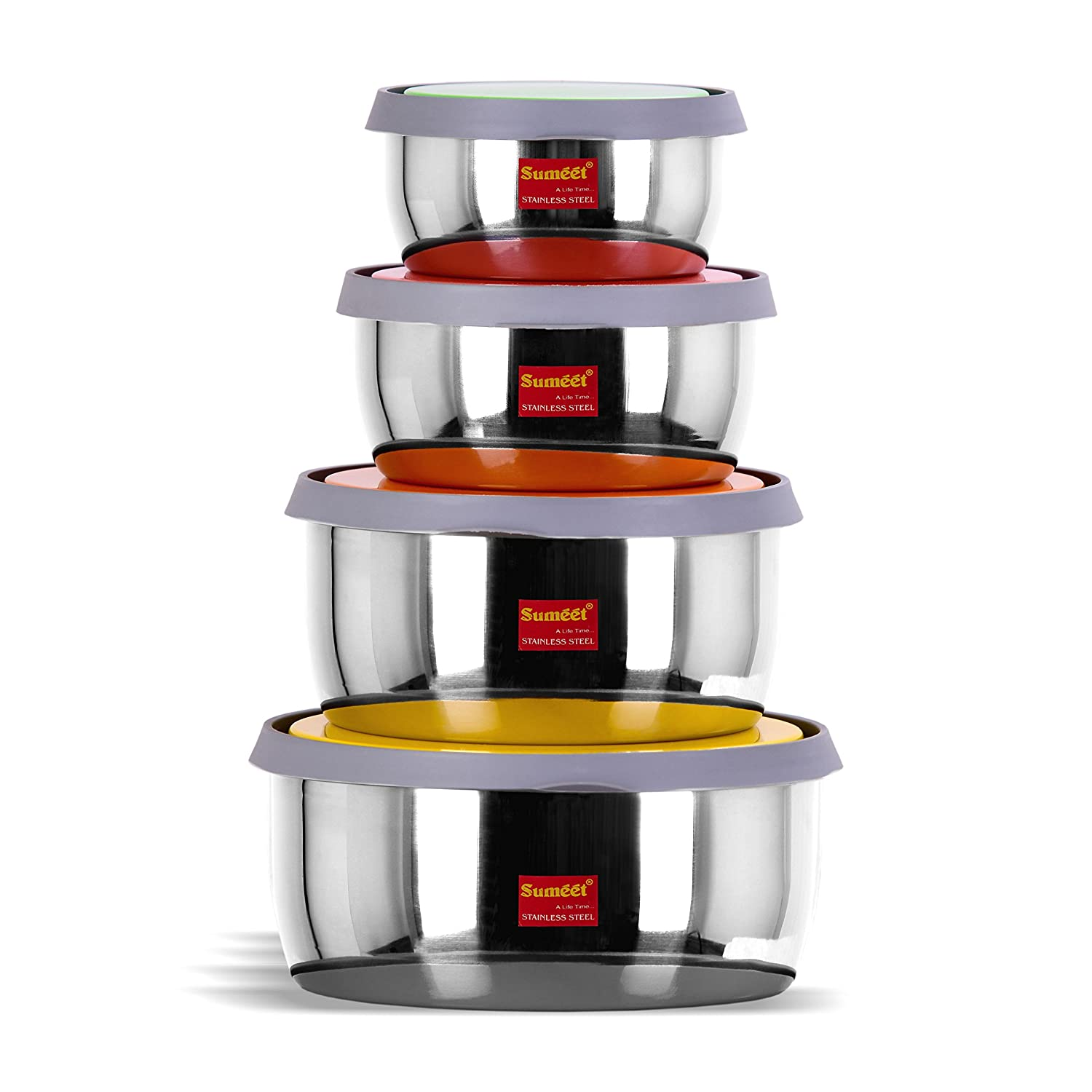 Sumeet Stainless Steel Food Storage Airtight & Leak Proof Containers Set 400ML to 1 LTR, Set of 4pc at Amazon ₹ 714