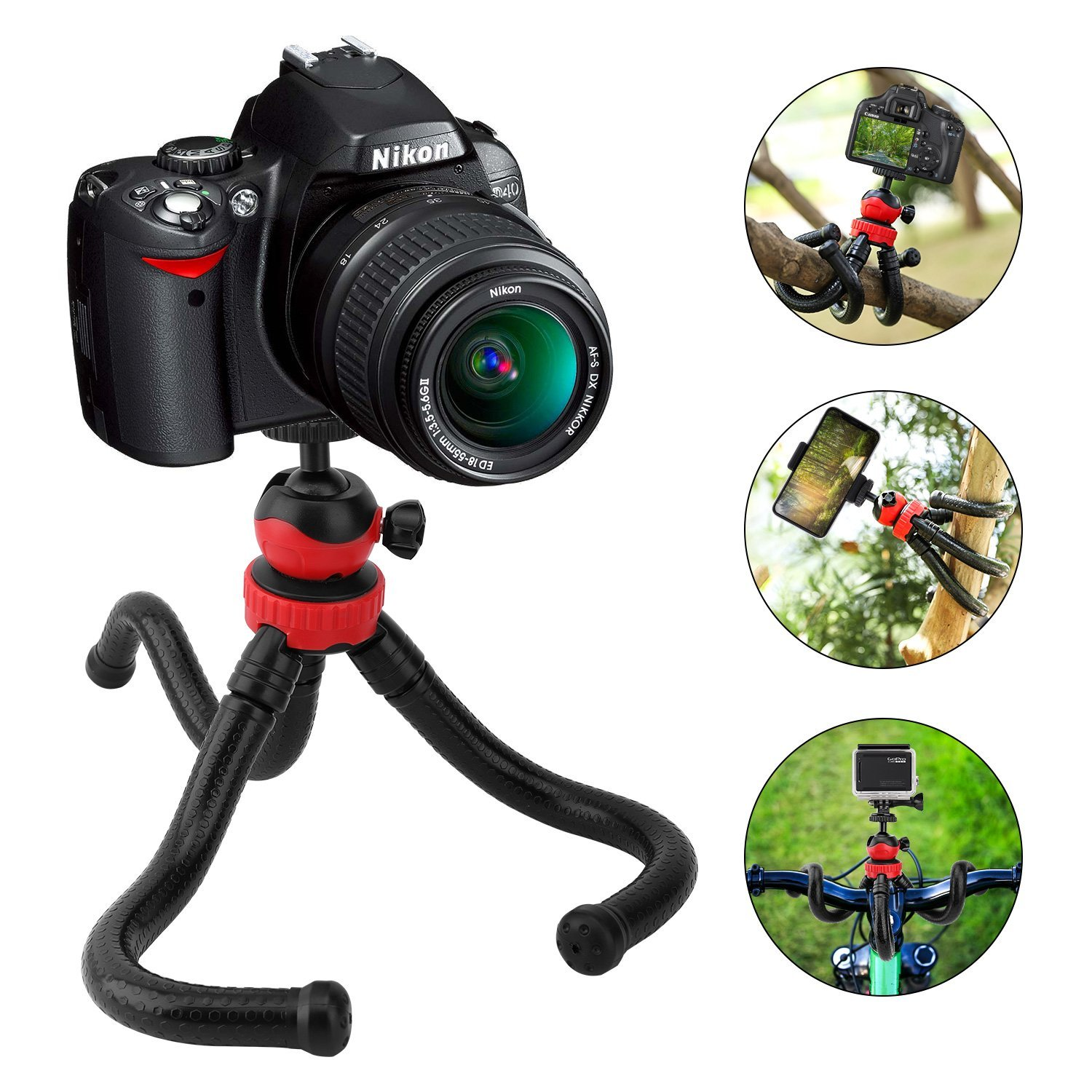 MoKo Camera Phone Tripod, Octopus Flexible Travel Stand with Remote Control, Gopro Adapter and Phone Holder for Apple iPhone X/8 Plus/8, Samsung Galaxy S9 Plus/S9/Note, Gopro and More - Black