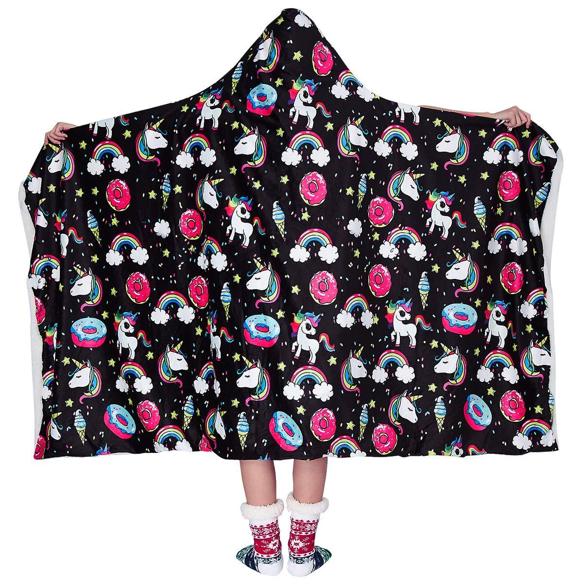 Loveternal Unicorn Graphic Blanket Hoodie for Women Rainbow Donut Cloaking Cabin Throw Blanket 3D Plush Small Lucky Star Ice Cream Warm Fleece Wearable Blanket Cuddle Home Black (60\