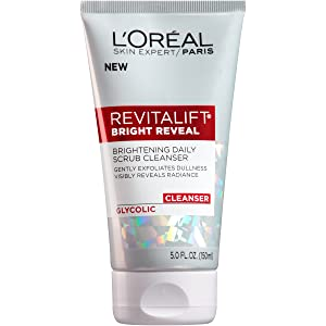 L'Oreal Paris Skincare Revitalift Bright Reveal Facial Cleanser with Glycolic Acid, Anti-Aging Daily Face Cleanser to Exfoliate Dullness and Brighten Skin, 5 Fl Oz (Pack of 1)