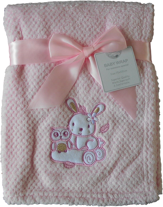 Manta de conejo rosa y b/úho 100 cm x 75 cm aprox.