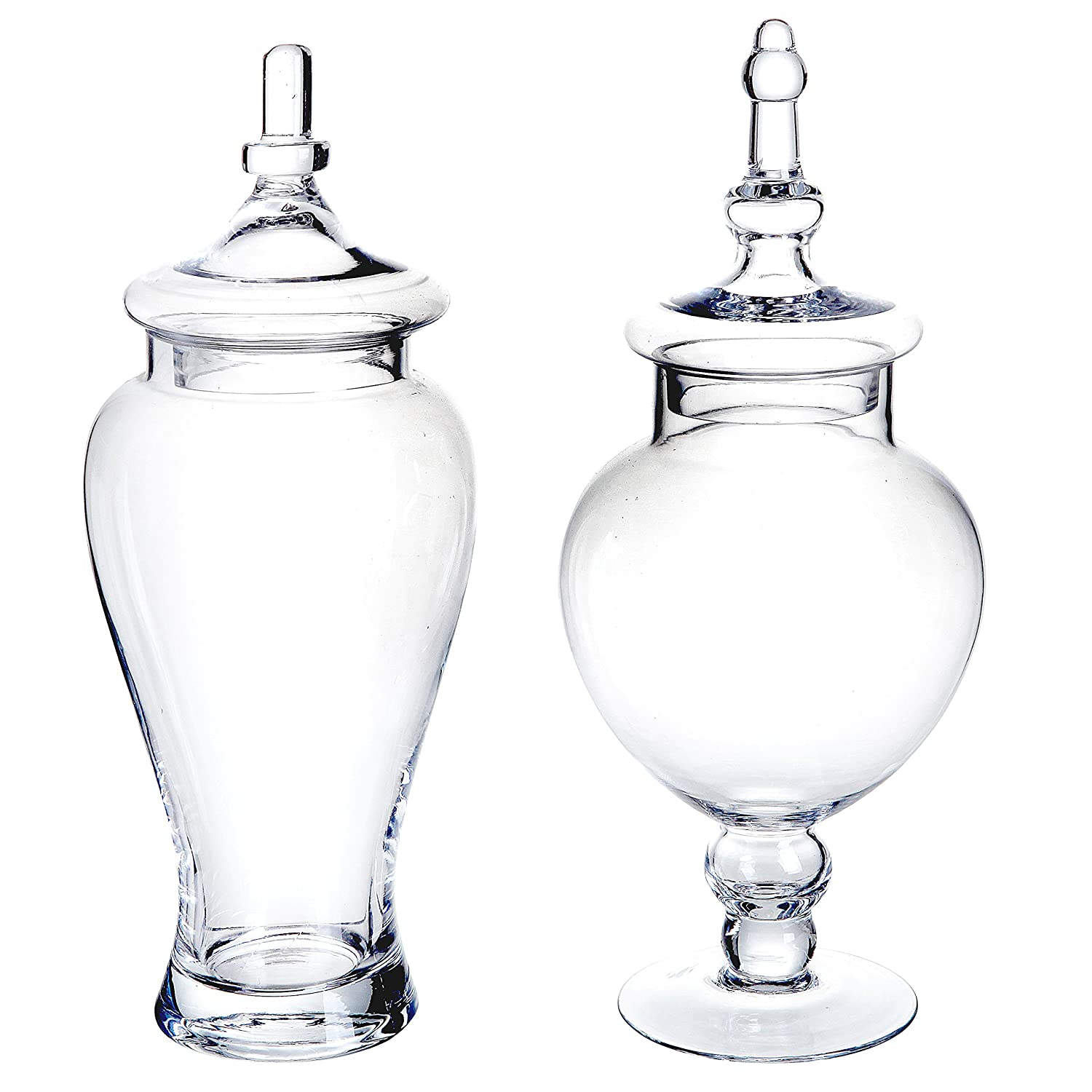 Very Amazon.com: Set of 2 Large Decorative Clear Glass Apothecary Jars  HG09