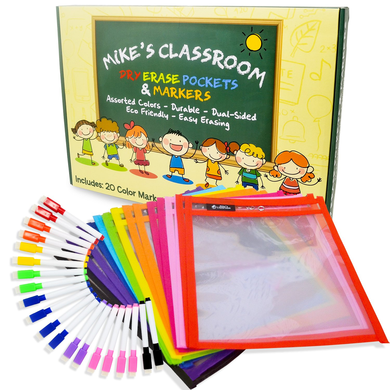 Mike's Classroom Dry Erase Pockets | 20pcs | 10'' x 13'' | Multi-Color Wipe-Away Marker Tools w/Eraser Tips | Binder Ring! | Reusable Eco-Friendly Teaching Supplies for School & Teacher Organization