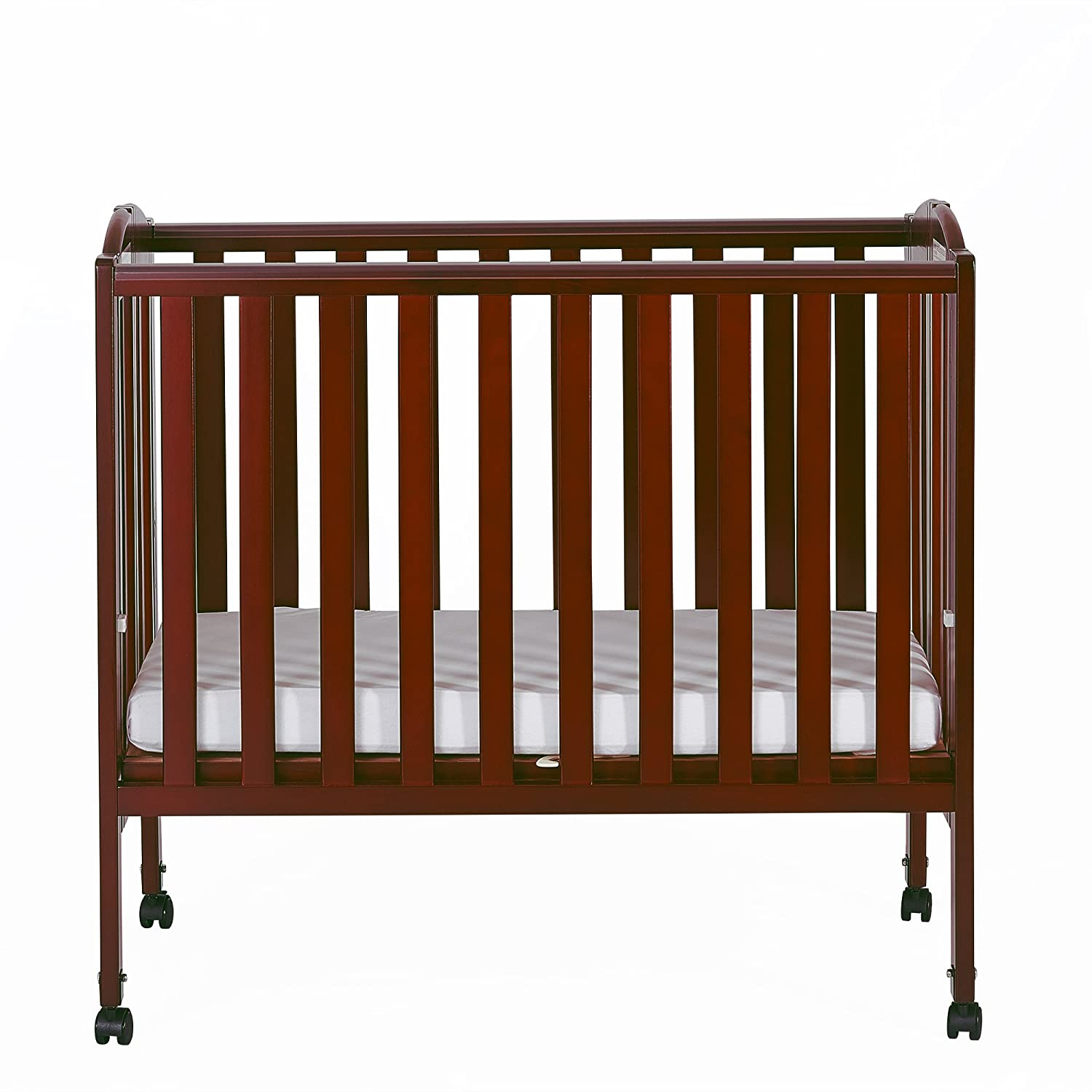 Dream On Me 2 in 1 Portable Folding Stationary Side Crib, Cherry 682-C