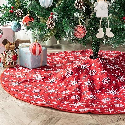 Deggodech Falda del árbol de Navidad Rojo Base de Árbol de Navidad ...