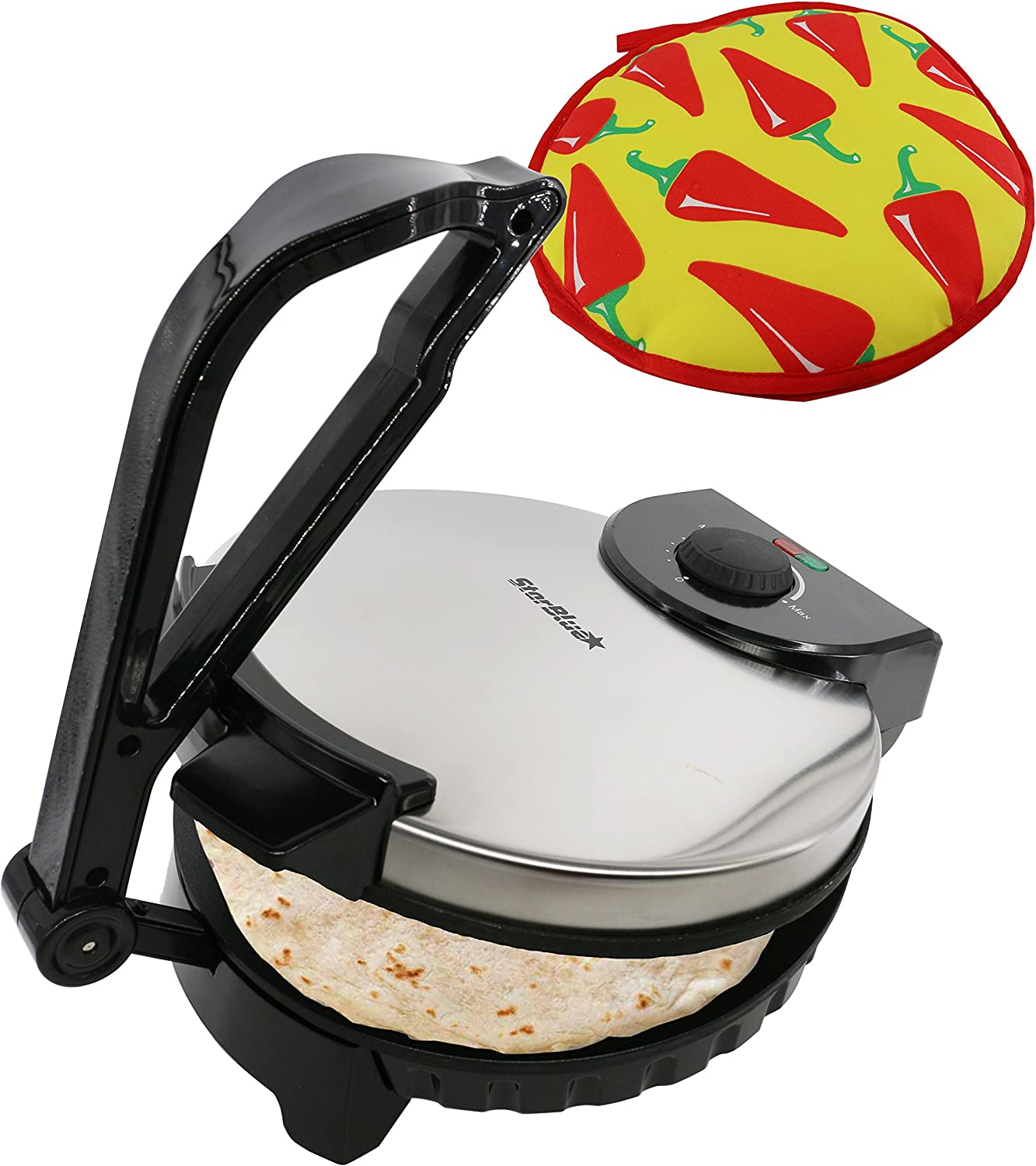 10inch Roti Maker by StarBlue with FREE Roti Warmer - The automatic Stainless Steel Non-Stick Electric machine to make Indian style Chapati, Tortilla, Roti AC 120V 60Hz 1200W