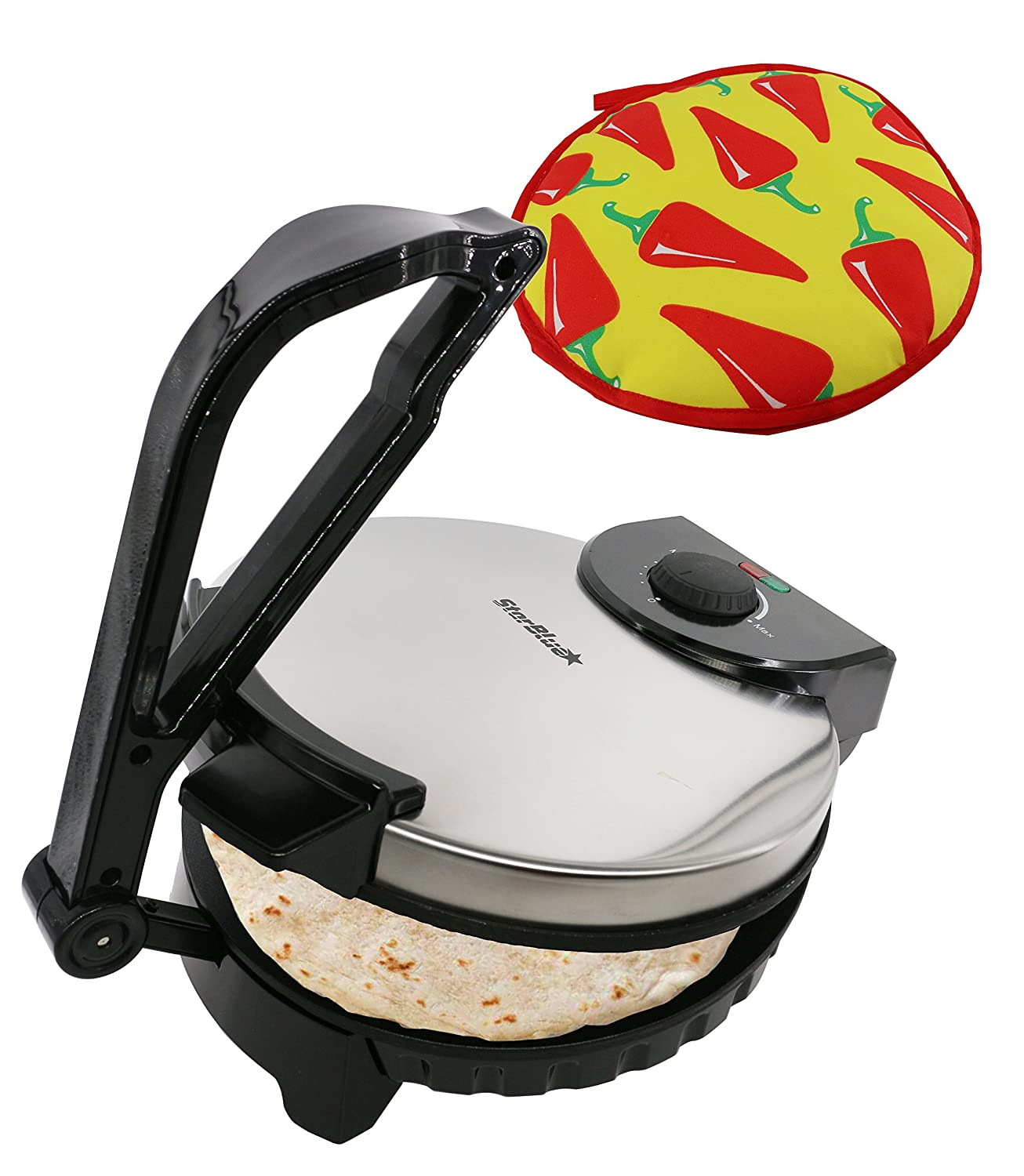 10inch Roti Maker by StarBlue with FREE Roti Warmer - The automatic Stainless Steel Non-Stick Electric machine to make Indian style Chapati, Tortilla, Roti AC 110V 50/60Hz 1200W
