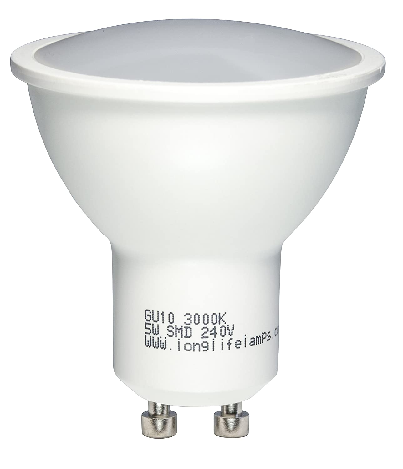 Pack of 10 5 Watt LED Replacement for GU10 50w Halogen Lamp Warm ...