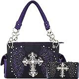 Western Style Cross Laser Cut Wings Purse Concealed Carry Handbags Women Country Shoulder Bag Wallet Set