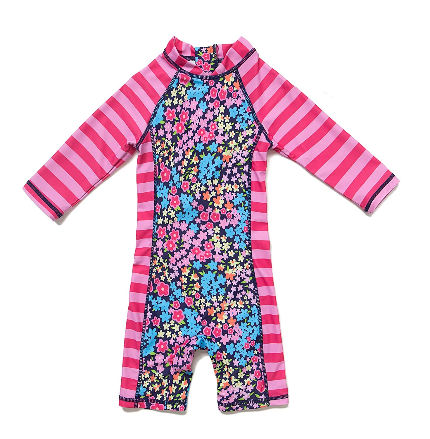 Sun Protection One Pieces Long Sleeves Swimwear with Sun Hat Purple Flowers,9-12Months Baby Girls Sunsuit UPF 50