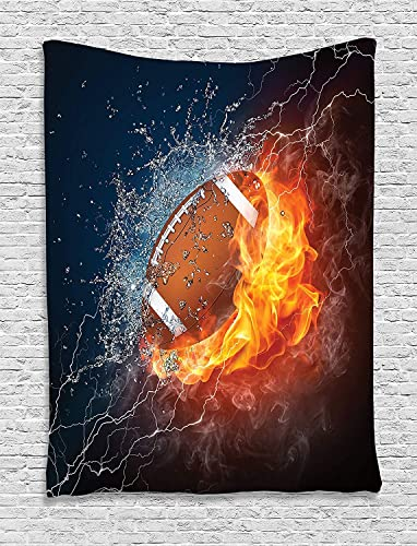 Ambesonne Sports Tapestry, Football on Fire and Water Flame Splashing Thunder Bolt Abstract Conceptual Art, Wall Hanging for Bedroom Living Room Dorm, 60 X 80 , Navy Orange