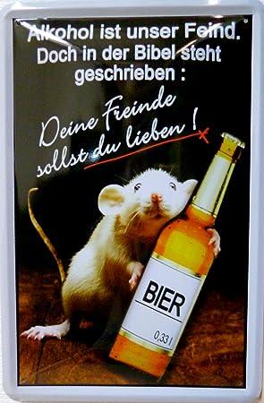 Blechschild 20x30cm Alkohol Feind Bibel Lieben Trinken Bier Ratte