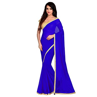 85191efb20 Amazon.com: Viva N Diva Saree for Women's Royal Blue Color Georgette Saree:  Clothing