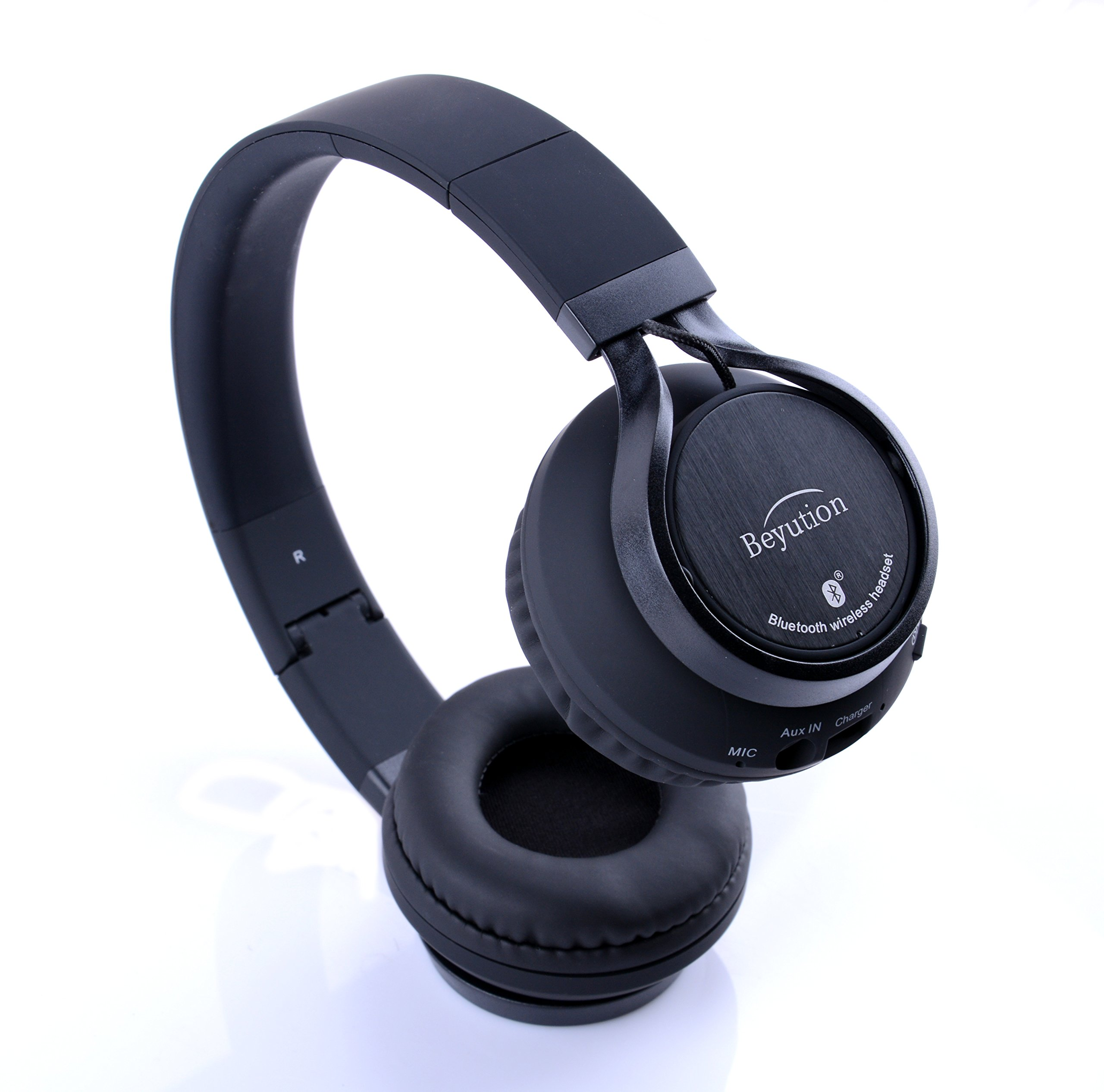 Beyution Black Metal Wireless Bluetooth Headsets Over Ear Bluetooth Headphones with Mic for iPhone 8 X Samsung Smart Phones and All Tablet Laptop with Bluetooth Funcstion (BT525-Black-Metal) by Beyution (Image #6)