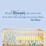 All Our Dreams Can Come True - Walt Disney Wall Sticker Quote (Medium)