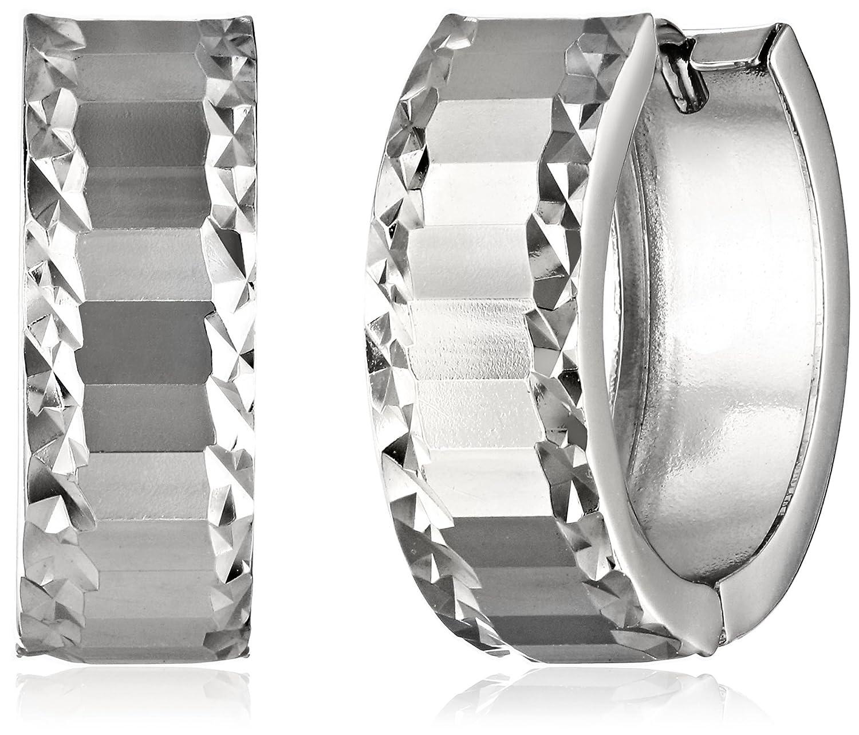 Amazon 14k White Gold Diamond Cut Huggie Hoop Earrings Jewelry