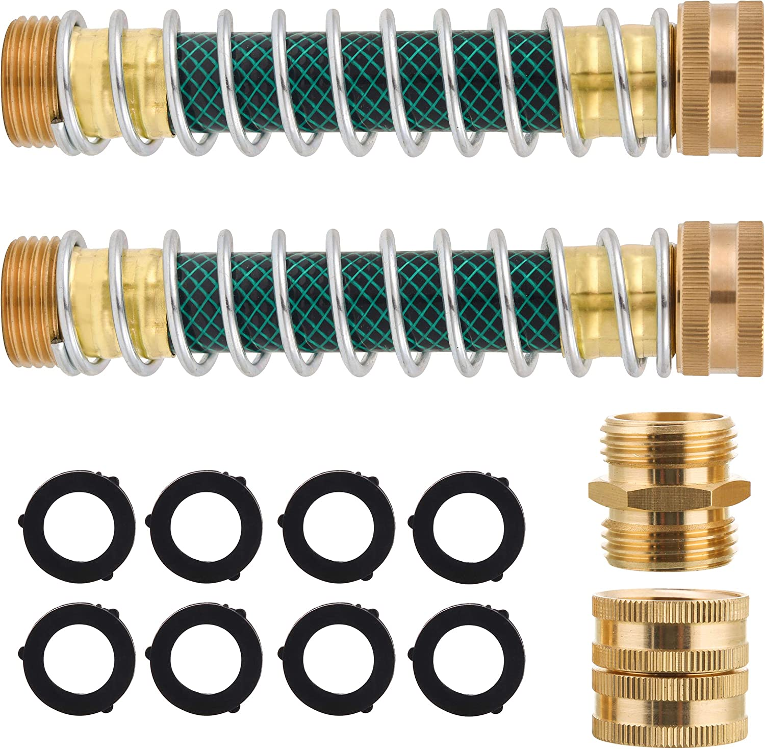 Tool Daily Garden Hose Protector, Extension Adapter with Coiled Spring, Faucet Kink Free, Solid Brass