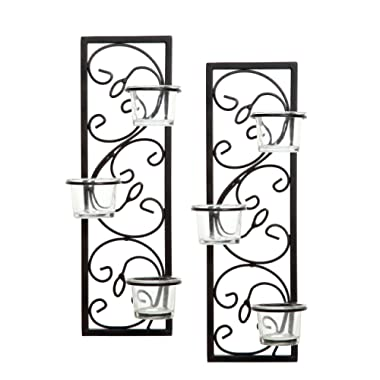 Hosley Set of Two 13.75  High Black Iron Tealight Wall Sconce. Handmade by Artisans. Ideal Gift for Wedding, Party, LED Votive Candle Gardens, Spa, Reiki