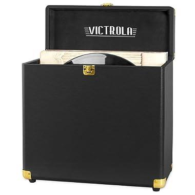 Victrola Vintage Vinyl Record Storage Carrying Case For 30+ Records (Dust/Scratch Free) - Vintage Black