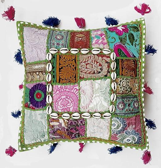 Rastogi artesanías Multi Color Sari Patchwork - Funda de ...