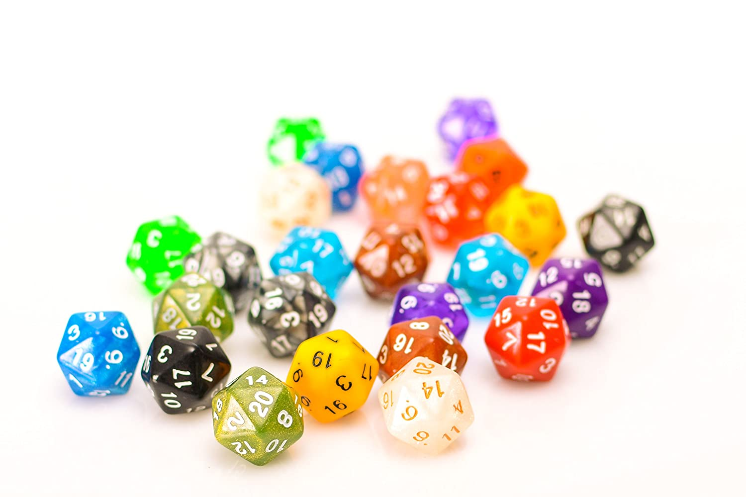 25 Count Assorted Pack of 20 Sided Dice - Multi Colored Assortment of D20 Polyhedral Dice Easy Roller Dice Co.