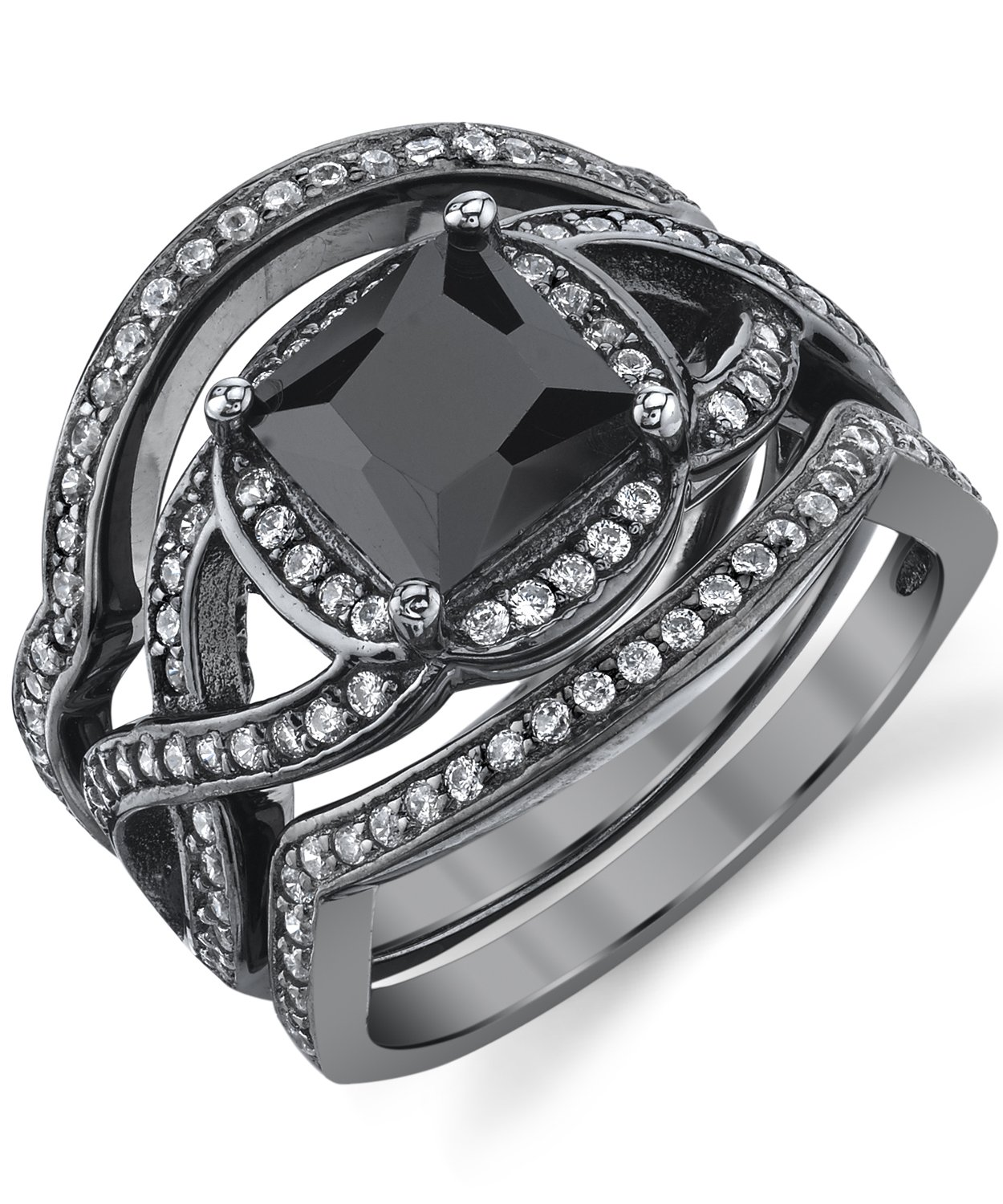 Black Rhodium Plated Sterling Silver Engagement Ring Bands, Bridal set W/ 2 Carat Black Princess Cut Cubic Zirconia 7