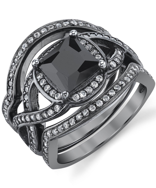 Black Rhodium Plated Sterling Silver Engagement Ring Bands, Bridal set W/ 2 Carat Black Princess Cut Cubic Zirconia 5
