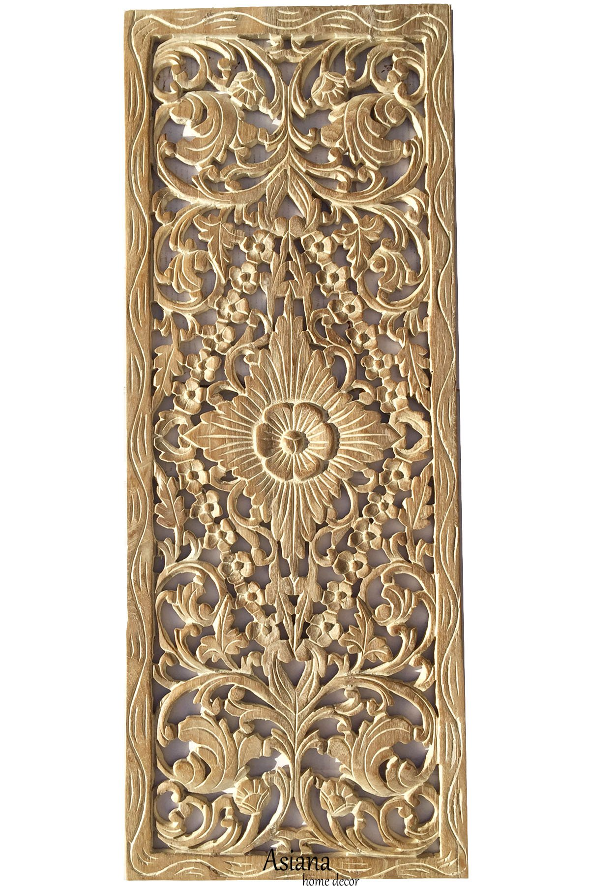 Sunshine Tropical Floral Wall Decor. Oriental Wood Carved Wall Art Panels. Size 35.5''x13.5'' (White Wash)