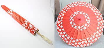 23 Inch Tall Red-Orange Cherry Blossom Wood Bamboo Paper Parasol Umbrella Backyard Decoration Gift