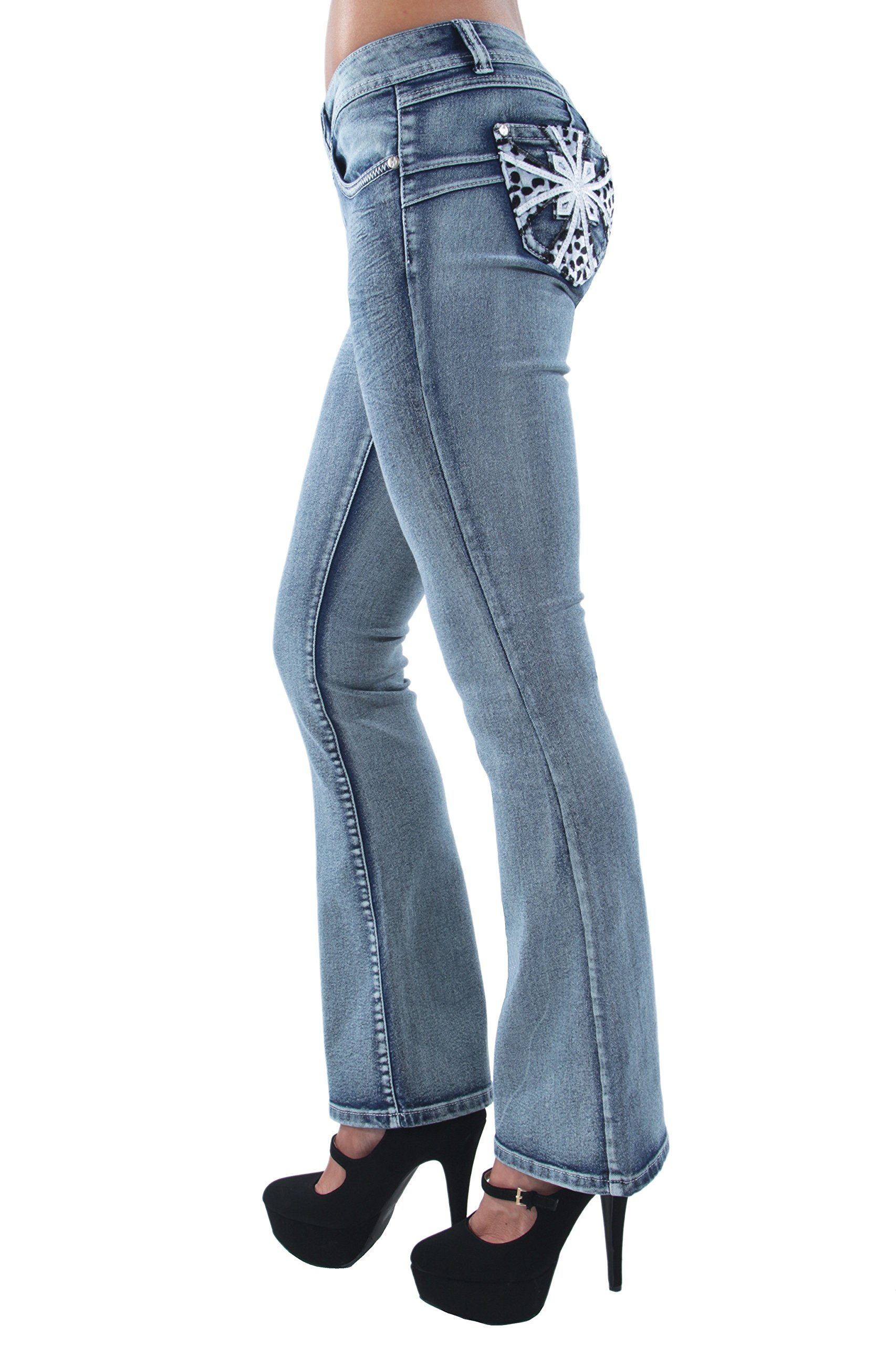 Fashion2Love F2L-35057(F)-BT – Colombian Design, Butt Lift, Levanta Cola, Boot Leg Jeans in Washed Blue Size 3