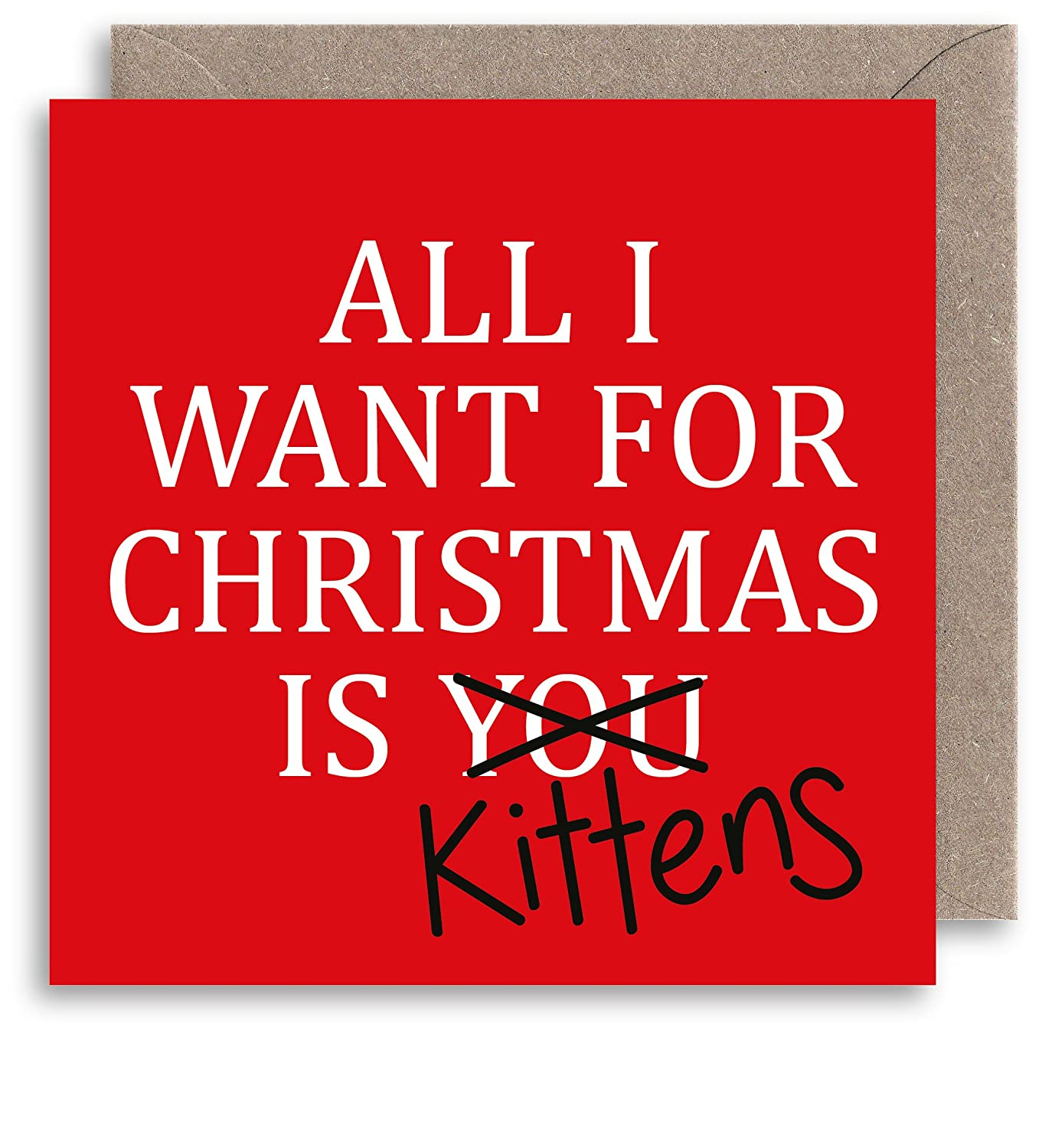 Funny Cat Lover Weihnachtskarte – All I want for Christmas Zitat ...