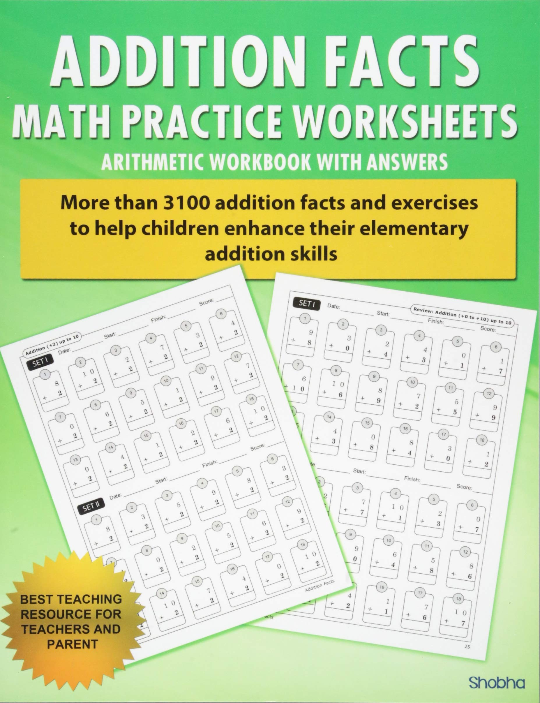 addition facts math practice worksheet arithmetic workbook with  addition facts math practice worksheet arithmetic workbook with answers  daily practice guide for elementary students elementary addition series  volume