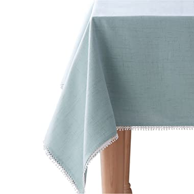 Lenox French Perle Solid 60 x102  Oblong Tablecloth, Ice Blue
