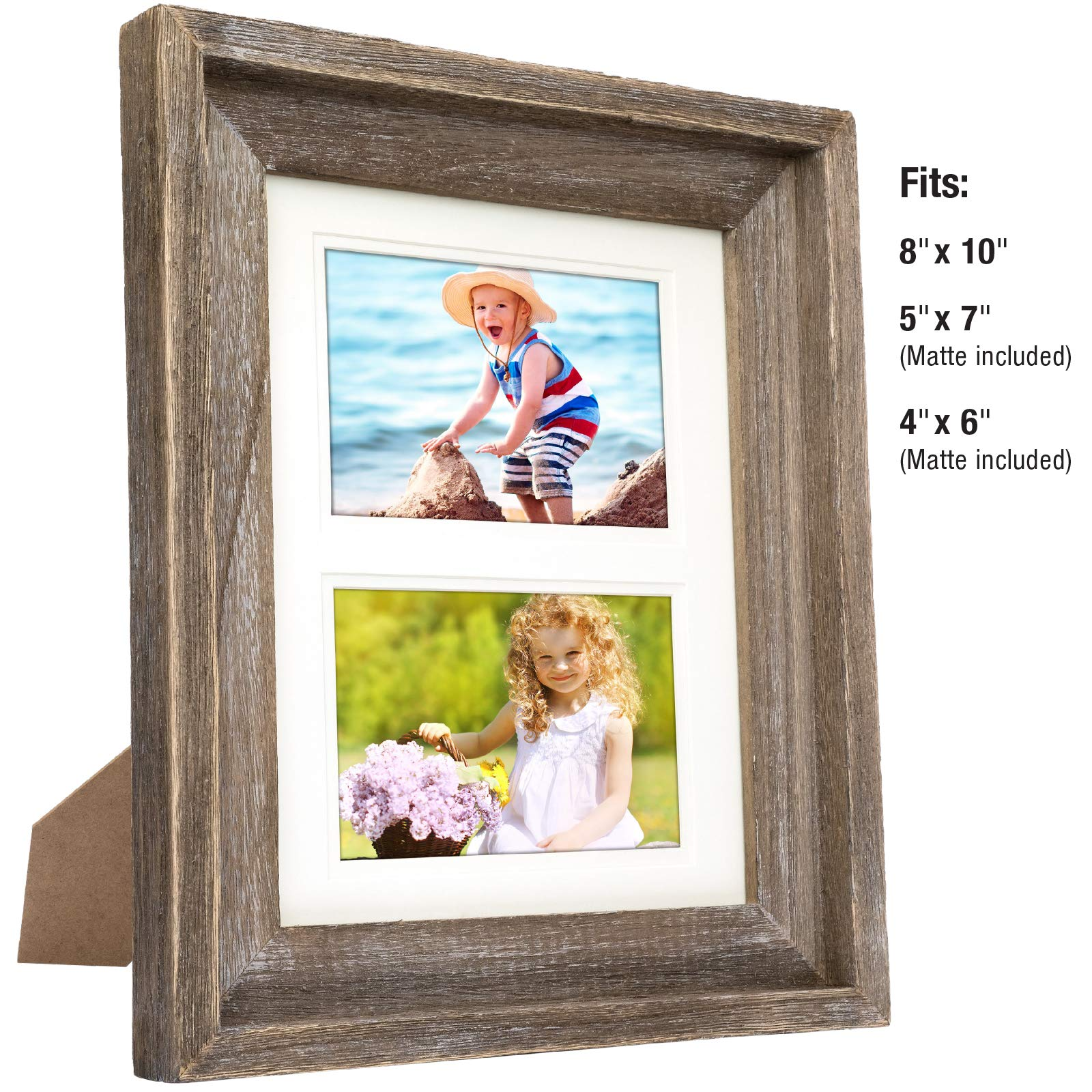 Rustic Barnwood 8x10 Picture Frame Set: Unique Photo Frame Holder for Wall Desktop or Tabletop Display. Thick Weathered Gray Wood Home Decor. Fits 8x10 or 5x7 or 4x6 with included Matte by Excello Global Products