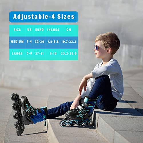 XinoSports Adjustable Kids Inline Skates for Girls Boys with Light Up Wheels Ages 5-20 Roller Skates with Illuminating Wheels