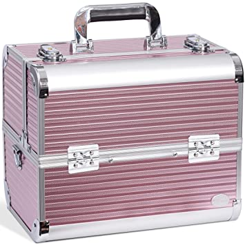 1dcab05595c6 Joligrace Makeup Case Organizer Large Travel Cosmetic Storage Make Up  Artist Box Lockable - Pink