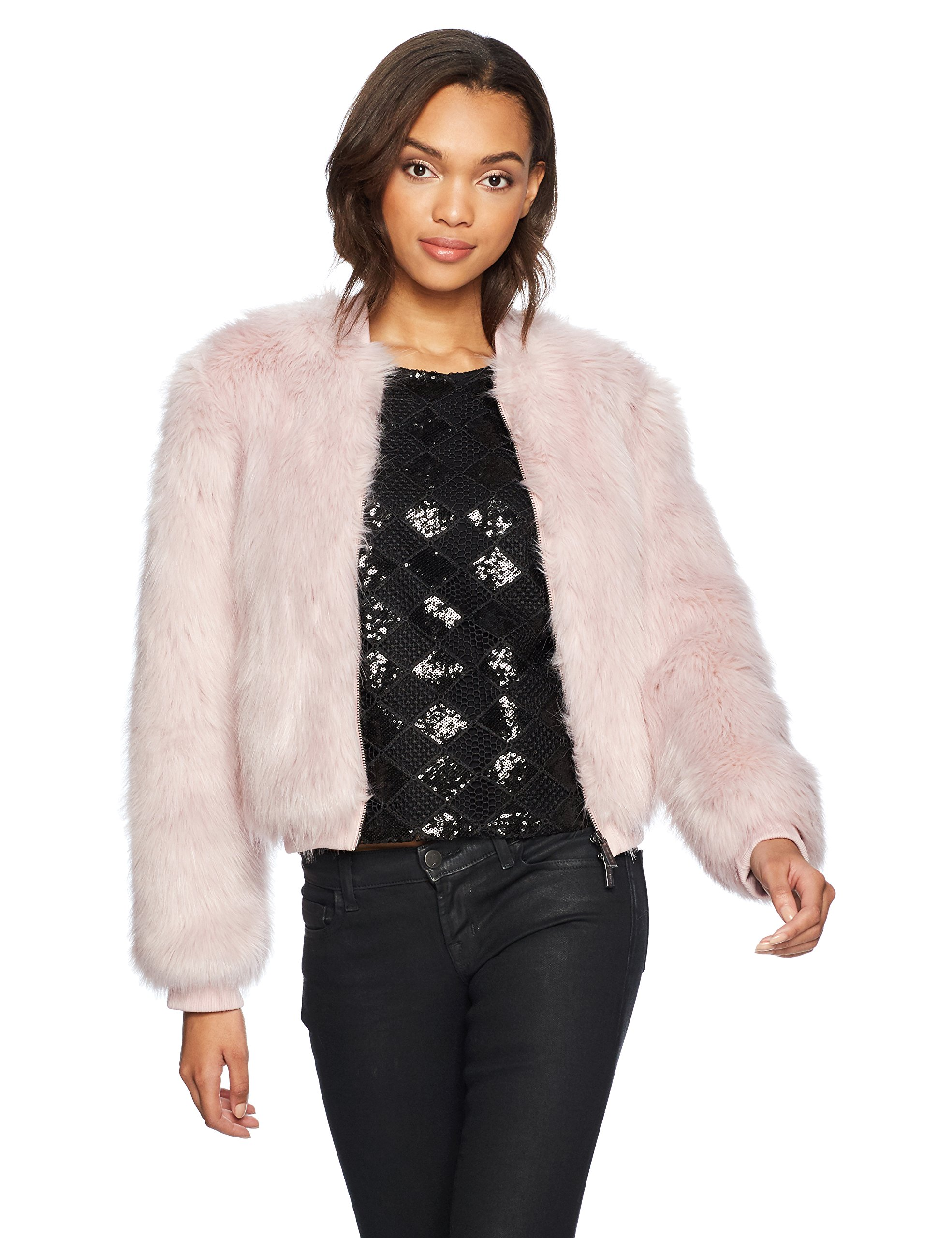 A|X Armani Exchange Women's Faux Fur Zip Jacket, Rosewater, S by A|X Armani Exchange