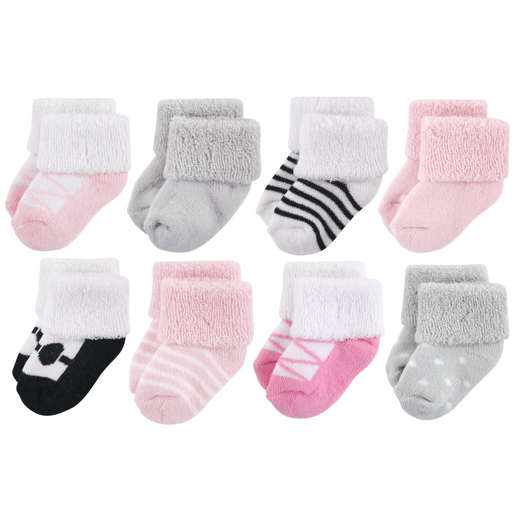 Luvable Friends Unisex Baby Socks, Pink Black