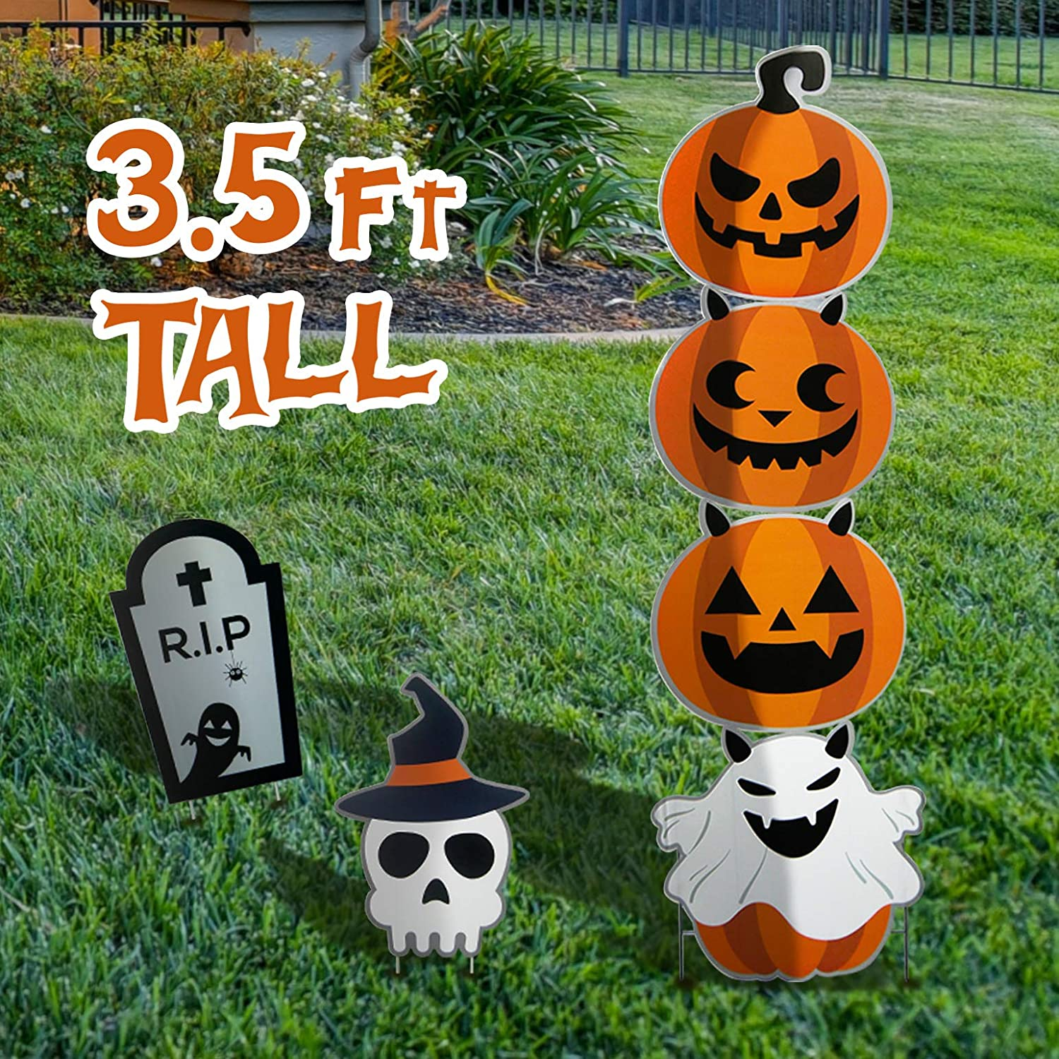 Sunlit Halloween Decorations Outdoor, 42 inches Extra Tall Halloween Yard Stakes Garden Stakes Signs, Halloween Props Holiday Decor Signs for Home Lawn Pathway Walkway, Pumpkin Ghost Tomb Skull