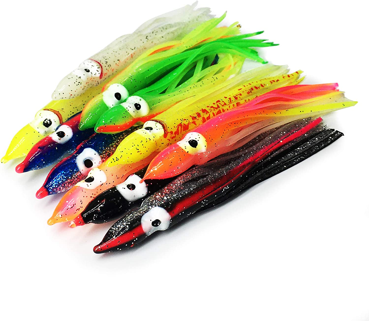 Details about  /Squid Skirt 12in Fishing Lure 4 PACK Hoochies Bait Saltwater Soft Lure FREE SHIP