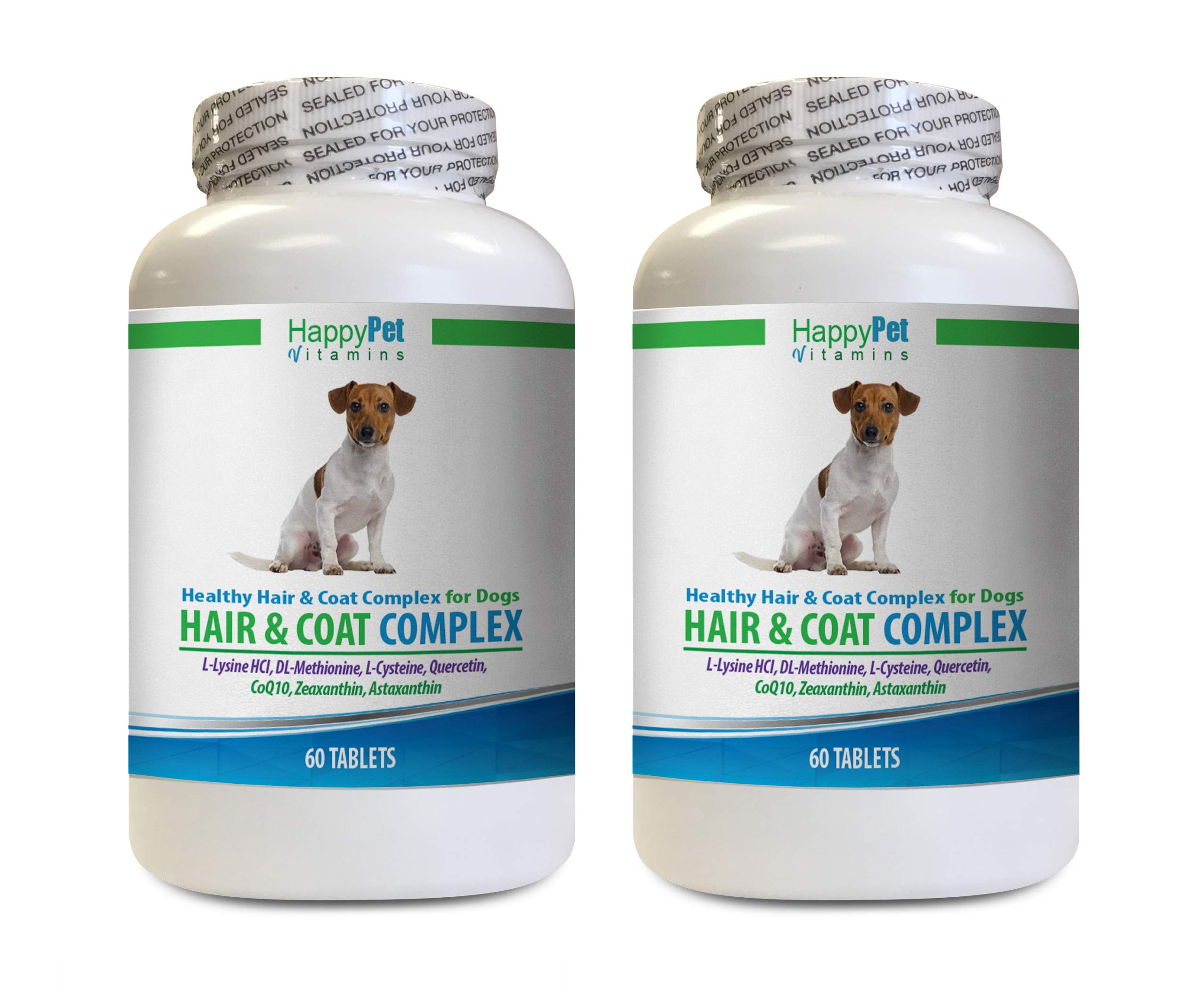 HAPPY PET VITAMINS LLC Dog Hair and Skin Supplements - Dog Hair and Coat Health Complex - Healthy Skin and Nails - Itch Relief - Powerful - Vitamin e for Dogs Skin - 120 Treats (2 Bottles) by HAPPY PET VITAMINS LLC